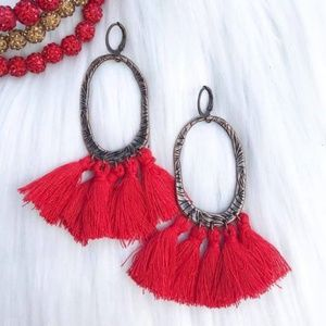 Game Day Red Tassled Oval Earrings